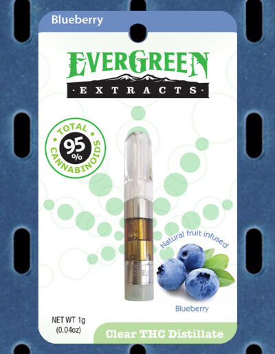 Evergreen Extracts Blueberry Clear THC Distillate Cartridge