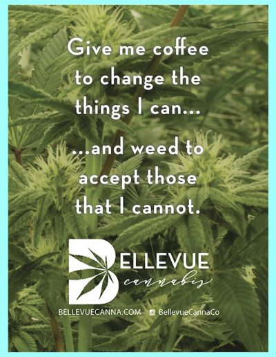 """Poster of """"Give me coffee to change the things I can... ...and weed to accept those I cannot."""""""